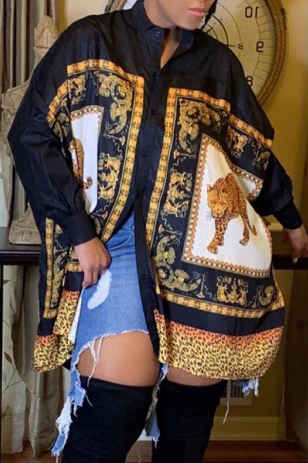 Lovely Trendy Turndown Collar Totem Printed Black Blouse