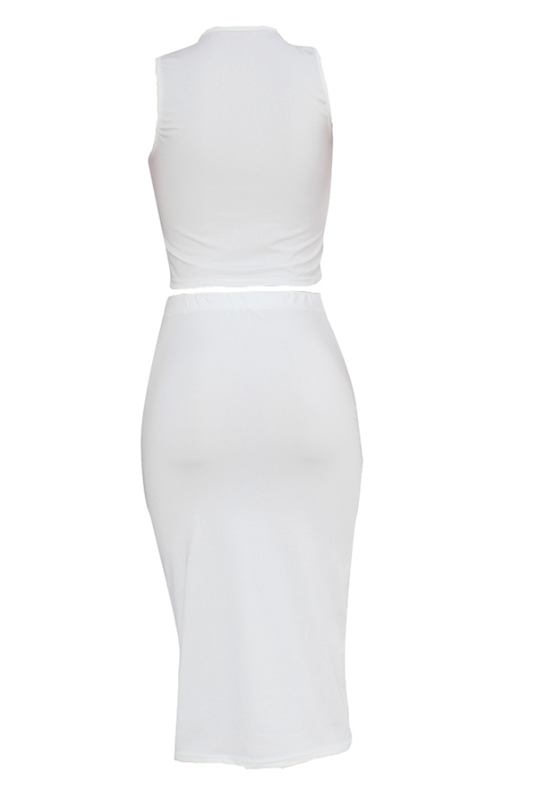 Lovely Casual V Neck Sleeveless White Two-piece Skirt Set