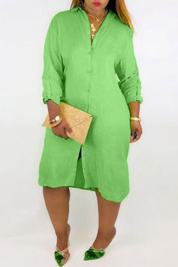 Lovely Casual Buttons Loose Green Knee Length Dress