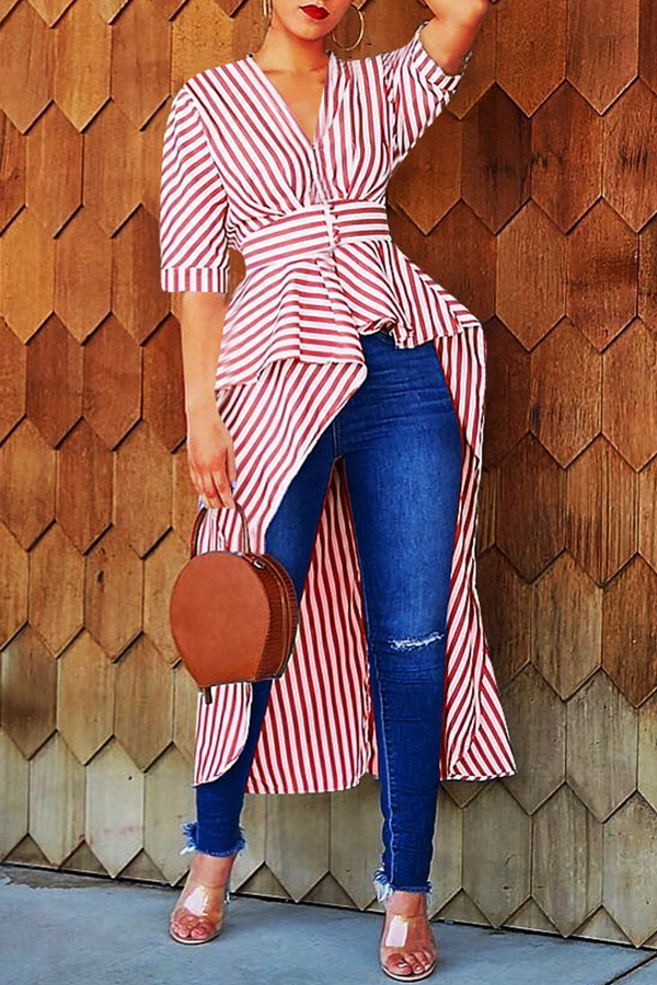 lovelywholesale / Cheap Blouses&Shirts Lovely Casual Striped Asymmetrical Red Blouse