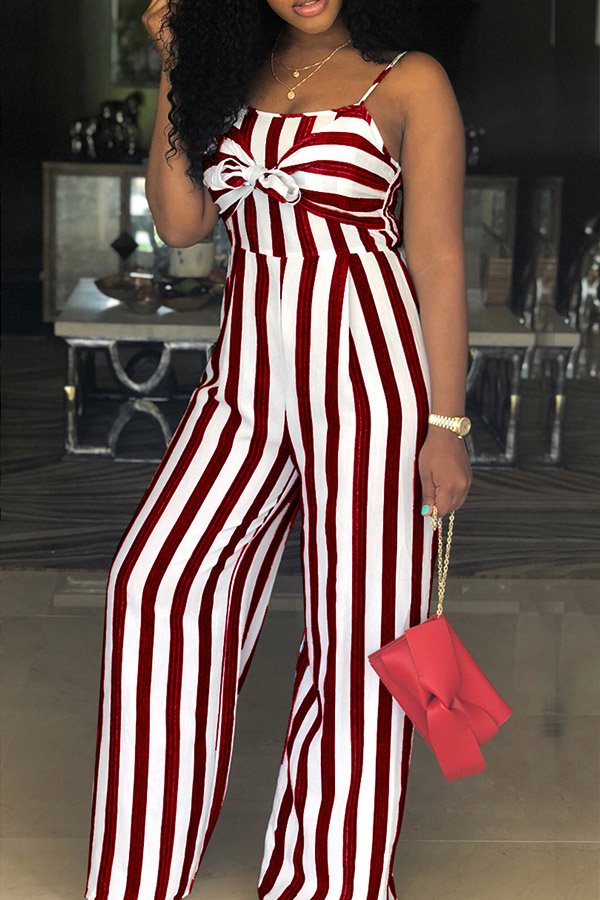 Lovely Women's Spaghetti Straps Striped Hollow-out Wine Red One-piece Jumpsuit