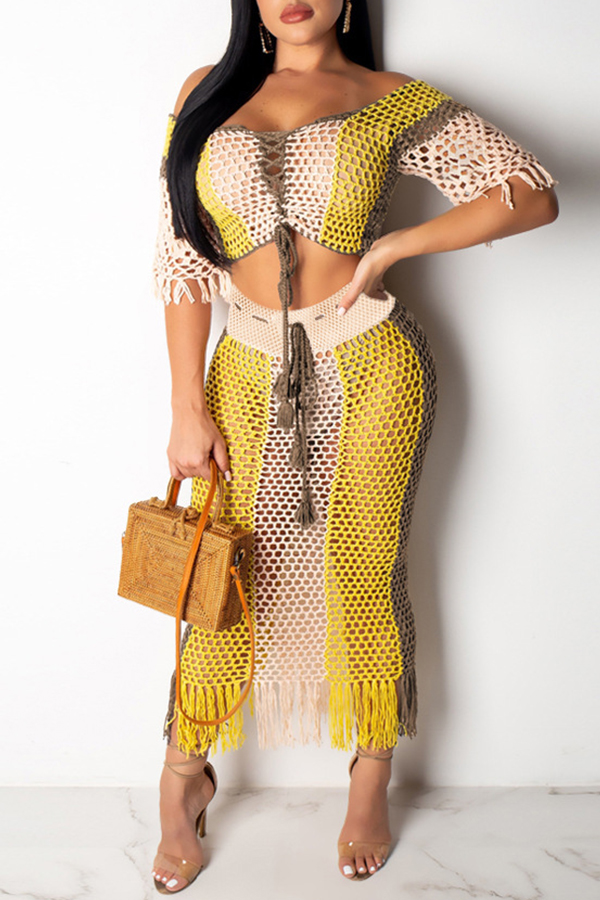 Lovely Casual Hollow-out Yellow Two-piece Skirt Set