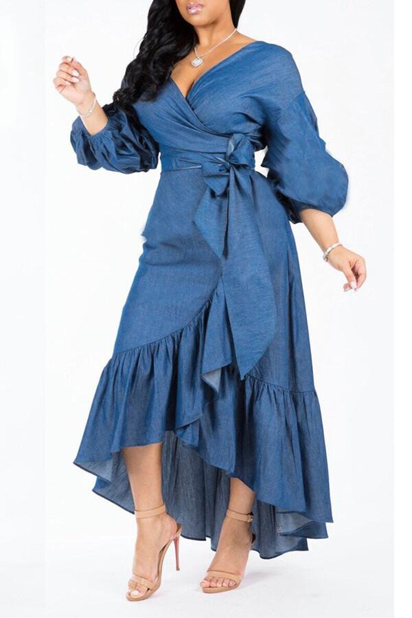 Lovely Trendy Asymmetrical Dark Blue Denim Mid Cal