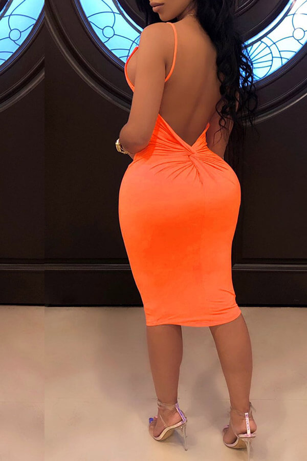 Lovely Sexy Backless Orange Knee Length Dress(With