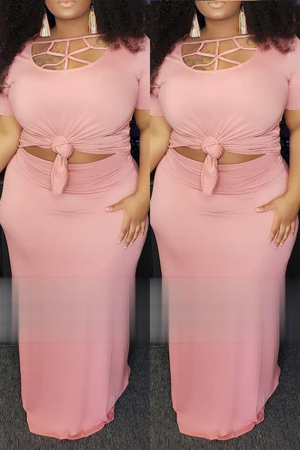 Lovely Casual Hollow-out Light Pink Two-piece Skirt Set