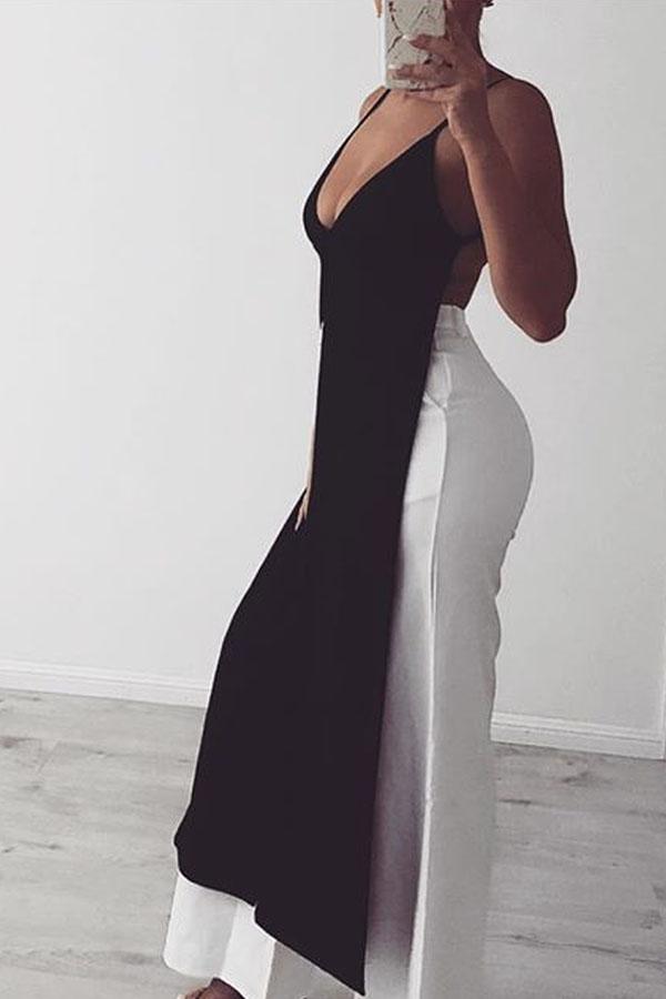 Lovely Sexy V Neck Side Split Black T-shirt