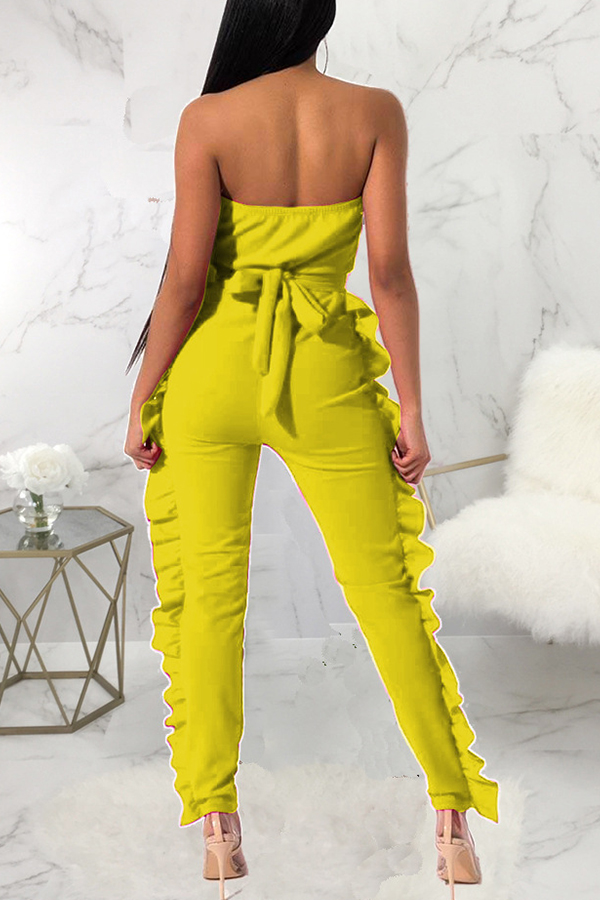 Lovely Stylish Off The Shoulder Ruffle Design Yellow One-piece Jumpsuit