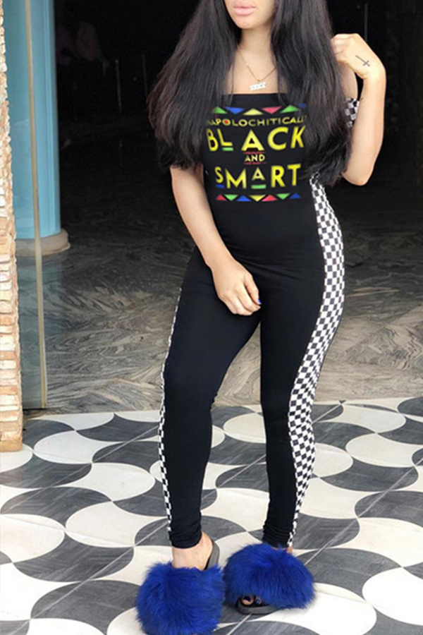 Lovely Casual Off The Shoulder Letter Printed Black One-piece Jumpsuit