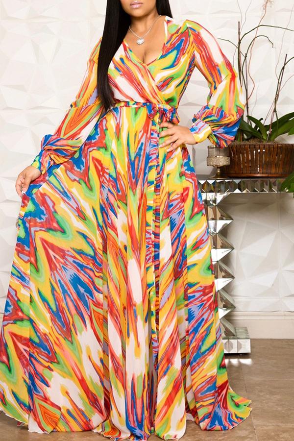 Lovely Sweet V Neck Printed Orange Chiffon Floor Length Dress
