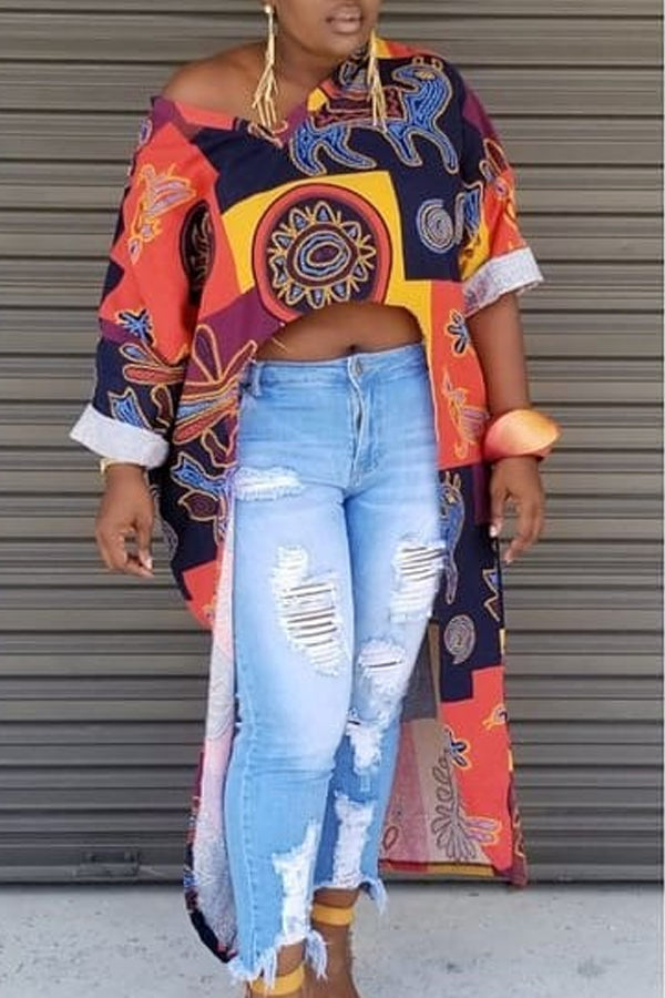Lovely Trendy Printed Asymmetrical Blouse