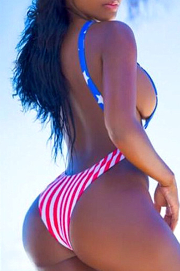 Lovely Independence Day Printed Hollow-out White One-piece Swimwear(Without Cover-up)