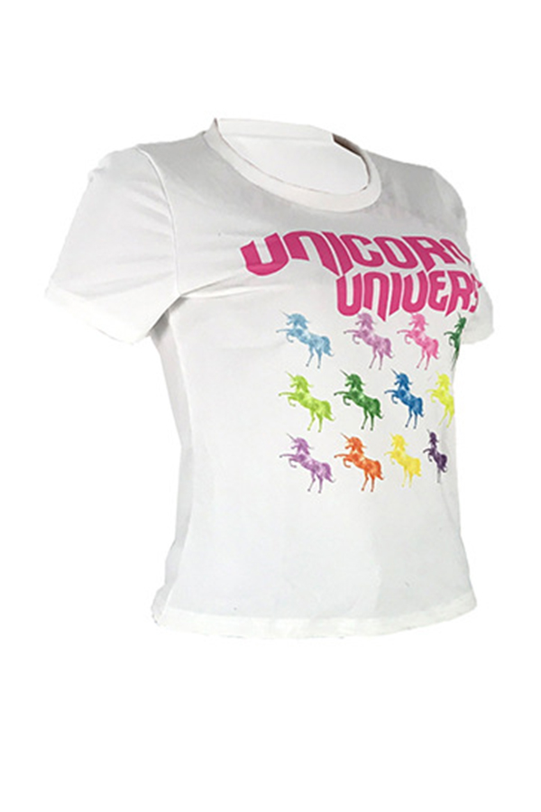 Lovely Trendy Letter Printed White T-shirt
