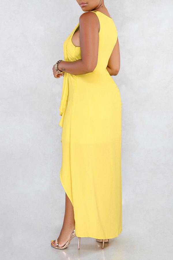 Lovely Casual V Neck Asymmetrical Yellow Mid Calf Dress(Nonelastic)