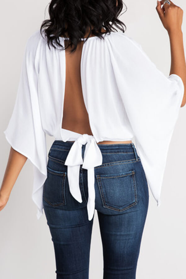 Lovely Casual O Neck Hollow-out Lace-up White Blouse