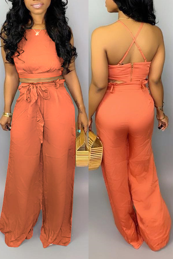 Lovely Sexy Lace-up Backless Jacinth Two-piece Pants Set