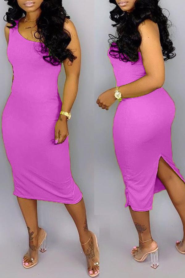 lovelywholesale / Cheap Dresses Lovely Casual Split Purple Knee Length Dress