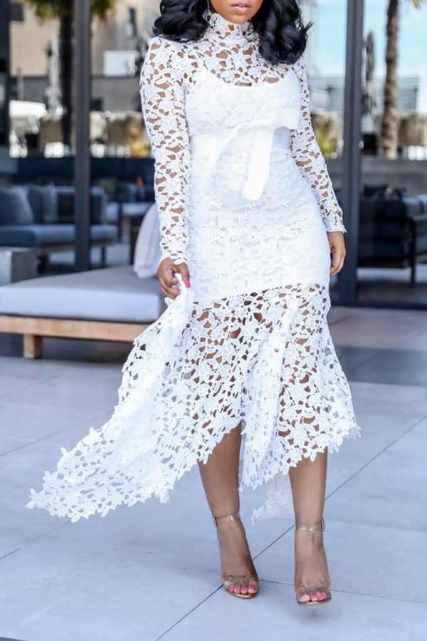 Lovely Sexy Lace Patchwork Asymmetrical White Ankle Length Dress