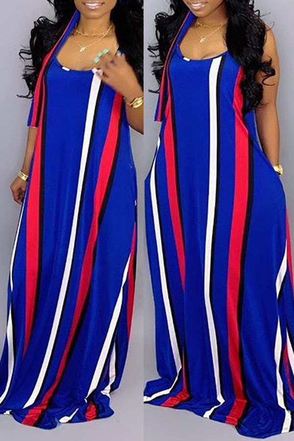 Lovely Casual Spaghetti Straps Striped Printed Blue Floor Length Dress(With Headband)