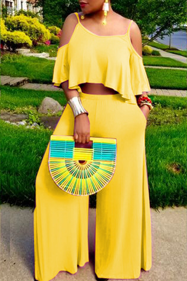 Lovely Casual Spaghetti Straps Hollow-out Yellow Two-piece Pants Set