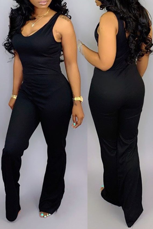 Lovely Casual O Neck Black One-piece Jumpsuit