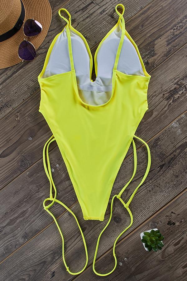 Lovely Deep V Neck Yellow One-piece Swimwear