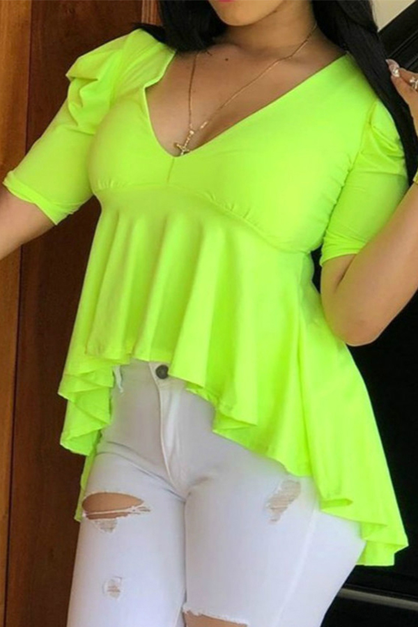 lovelywholesale / Cheap Blouses&Shirts Lovely Casual Ruffle Design Green Blouse