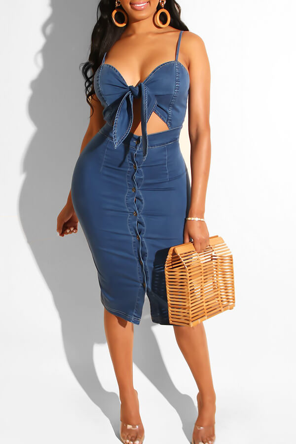 Lovely Chic Hollow-out Deep Blue Knee Length Dress