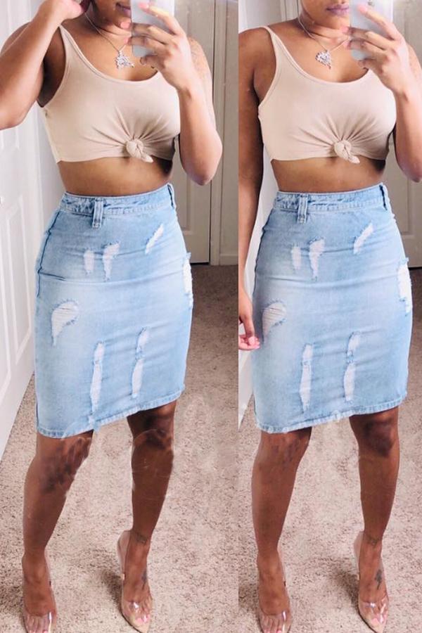 Lovely Casual Split Blue Knee Length Skirt