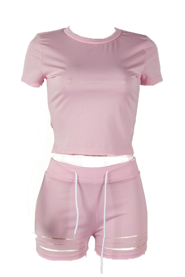 Lovely Casual O Neck Hollow-out Pink Two-piece Shorts Set