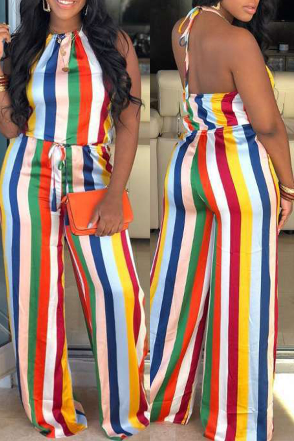 Lovely Sexy Halter Neck Striped Printed Multicolor One-piece Jumpsuit фото