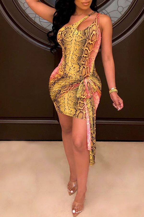 Lovely Sexy One Shoulder Snakeskin Pattern Printed Multicolor Mini A Line Dress