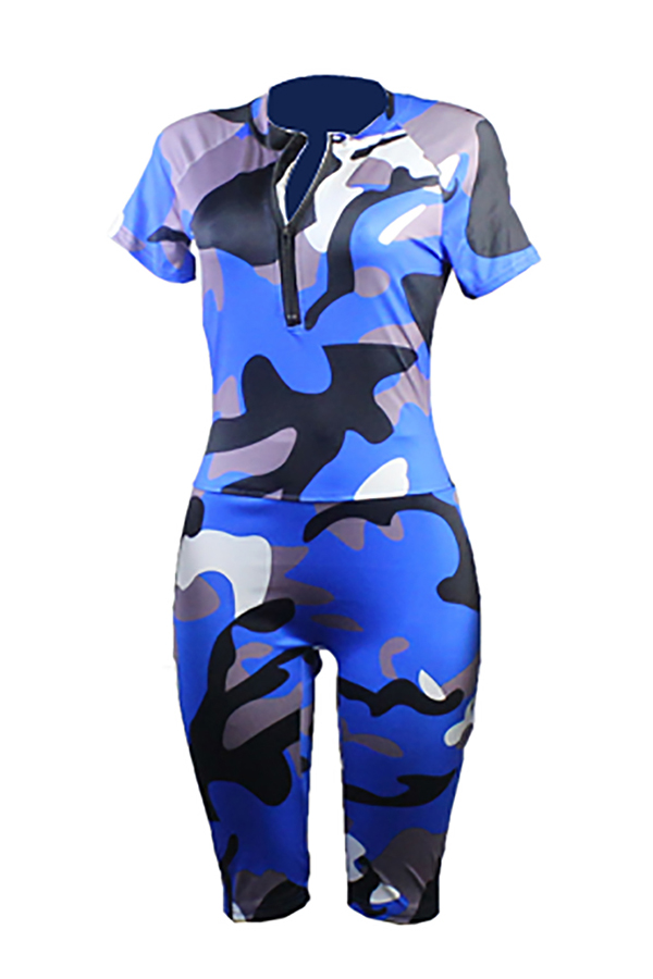 Lovely Casual Camouflage Printed Blue One-piece Romper