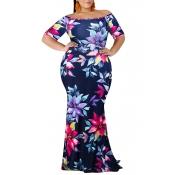 Lovely Bohemian Off The Shoulder Floral Printed Blue Floor Length Dress