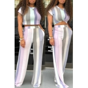 Lovely Leisure Striped Printed Purple Two-piece Pants Set