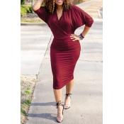 Lovely Casual V Neck Wine Red Knee Length Dress