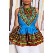 Lovely Ethnic Style O Neck Totem Printed Blue Blou