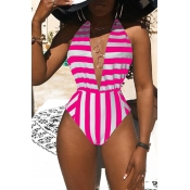 Lovely Sexy Deep V Neck Striped Rose Red One-piece Swimwear