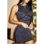 Lovely Women's Sleeveless Black Mini A Line Dress
