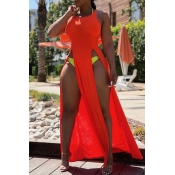 Lovely Sexy High Split Red Length Maxi Dress