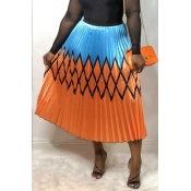 Lovely Stylish Printed Patchwork Orange  A Line Skirt