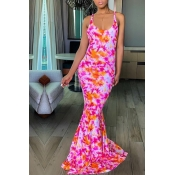 Lovely Casual U Neck Printed Backless Red Floor Le