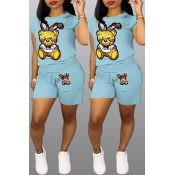 Lovely Casual Printed Baby Blue Two-piece Shorts Set