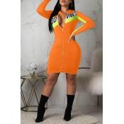 Lovely Trendy Patchwork Orange Mini Dress