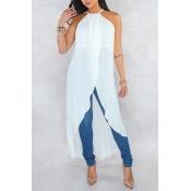 Lovely Stylish Halter Neck Asymmetrical White Blouse