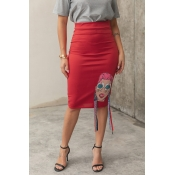 Lovely [Presale]Stylish High Waist Printed Red Kne