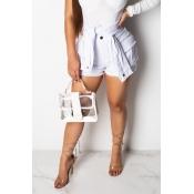 Lovely Casual White Denim Shorts