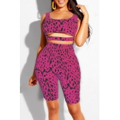 Lovely Casual Printed Hollow-out Rose Red Two-piece Shorts Set