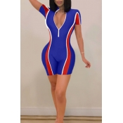 Lovely Women's Patchwork Royal Blue One-piece Romp