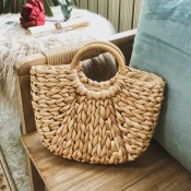 Lovely Fashion Weaving Design Khaki Handbag