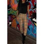 Lovely Stylish Plaid Printed Patchwork Black Two-p